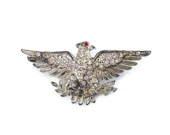 Little Nemo Brooch, American Eagle, Rhinestone Pin, Silver Pot Metal, Patriotic USA, Vintage Jewelry