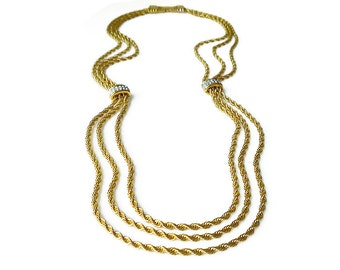 Nolan Miller Necklace, Gold Chain, Crystal Rhinestones, Multi Three Strand, Layering Necklace, Designer Vintage Jewelry