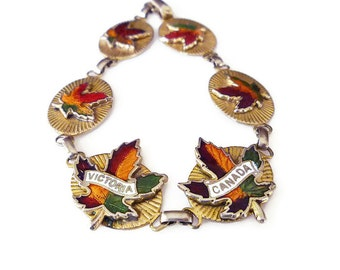 Victoria Canada, Souvenir Bracelet, Enamel, Gold Tone, Canadian Maple Leaves, Tourist Jewelry, Vintage Bracelet, Vintage Jewelry