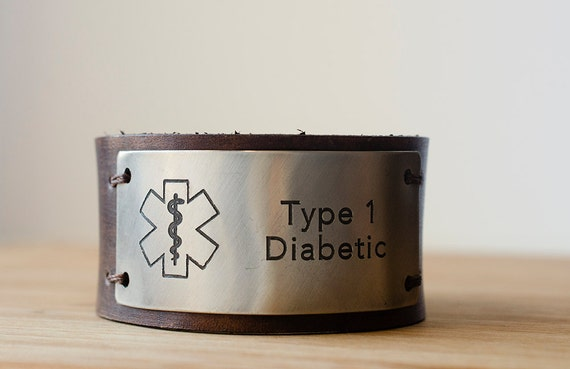 Custom Medic Alert on Distressed Leather Cuff