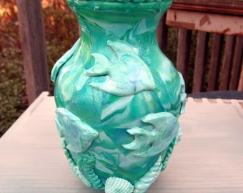5.5 inch Glass Vase Covered with Polymer Clay - Green Mix With Molded Angel Fish and Sea shells