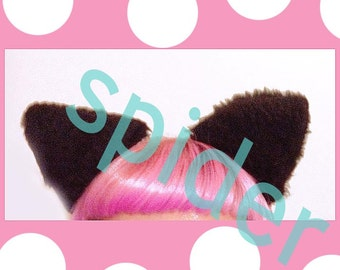 Meow Kitty Ears  Black Faur Fur Cat Ears Stuffed Puffy Hair Clips Costume Halloween Cosplay Cats Anime Clippies Cat or Bat