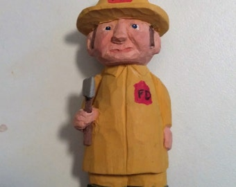 Miniature Hand Carved Whittled Wood Fireman Signed and Dated Collectible Birthday Anniversary,