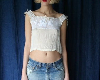Antique Crop Top / Pale Yellow Silk and White Crochet / Cropped Blouse / Ethereal Summer Shirt / Tank Top / Festival Top