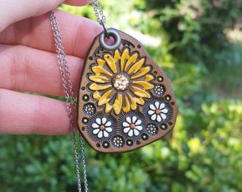 Sunflower and Daisies - Leather Pendant - Necklace - Handmade and Painted to Order - Mesa Dreams