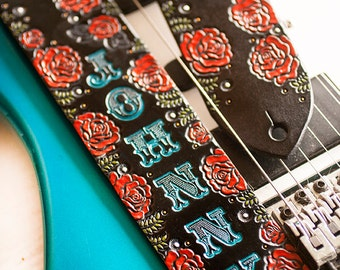 Custom Leather Guitar Strap - Acoustic or Electric - Black Leather and Roses - Personalized Rose Floral Design - Hand Tooled and Painted