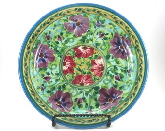 Green Ceramic Plate - Handmade Floral Pottery Platter - Purple Flower Design - OOAK Collectible - Classic Beauty and Style