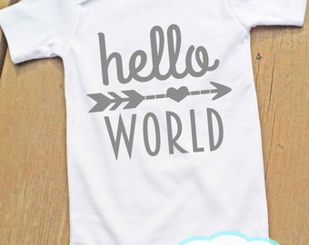 Hello World Bodysuit - You choose color of wording - New Born - New Baby - Birth