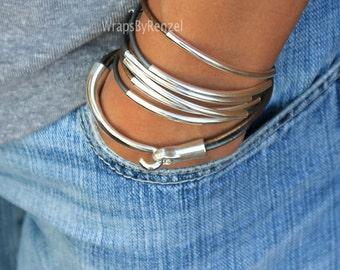 BOHO Leather Bracelet, Wrap Bracelet, Leather Wrap, Leather Jewelry, Friendship, Boho Jewelry, Gift for Her, Gray Bracelet, Beaded Bracelet