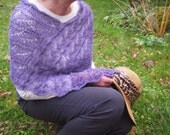 Violet poncho Lace hand knitted poncho Infinity scarf Womens knitwear Summer top Stretchy poncho Lavender lace wrap Cosy ring scarf