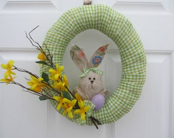 Green Gingham Easter Wreath - Bunny, Speckled Egg and Forsythia - Spring Home Decor