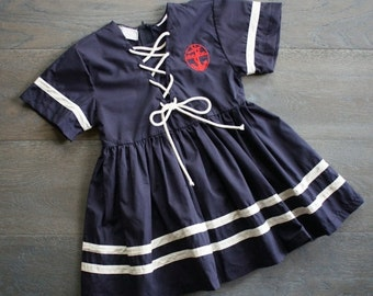 50% off// Vintage NAUTICAL ANCHOR Navy Blue TODDLER Girl Dress 4T