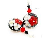 Black Red Floral Earrings, Colorful Earrings, Lampwork Earrings, Glass Bead Earrings, Glass Art Earrings, Unique Earrings, Flower Earrings