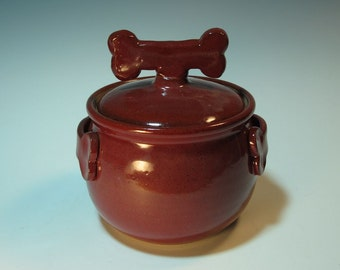 Large Brick Red Dog Treat Jar with Dog Biscuit Bone Knob and Handles