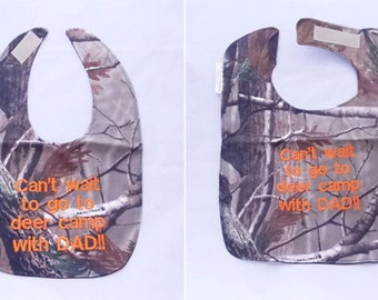 Create your own Custom Deer Camp Baby Bib - Small OR Large - FREE Shipping to U.S.