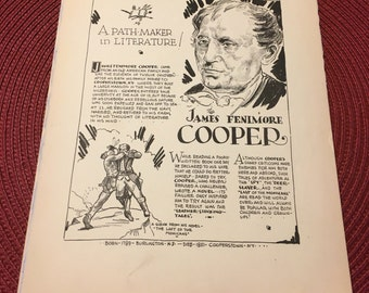 Book page print. James Fenimore Cooper a path maker in literature. 7 x11 Great for framing for the collector. History.