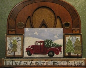Christmas Sign, Winter Sign, Its The Most Wonderful Time Of the Year Christmas Decor Blocks