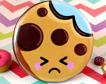 Sad Cookie Magnet 58mm, fun fridge magnet, cute food magnet, bitten cookie magnet, cute cookie art, round fridge magnet, cute kitchen decor