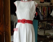 40%OFFSALE Vintage White1950s Dress with Red Striped Trim M