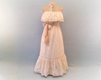 Flutter Dress, Cotton Dress, Summer Dress, Wheat, white dress, size Medium