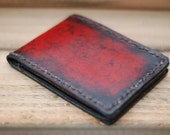 Slim Leather Wallet - The Red Burn - Bi-Fold Wallet for Men - 4 Card Slots - 2 Large Pockets - 1 Bill Fold compartment - Handcrafted Wallet.