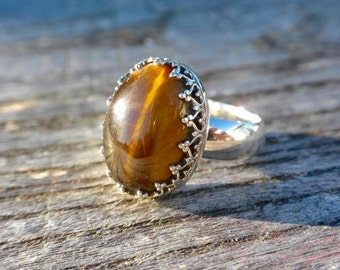 Crown Ring With Tigers eye
