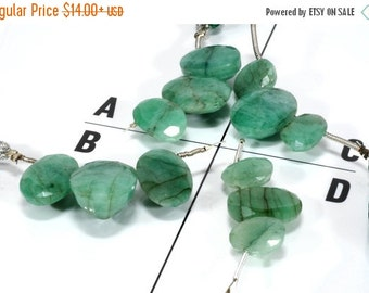 ON SALE Fancy Cut Emerald Oval Beads Briolettes Organic Opaque Natural Emeralds Mined Precious Stone - Your Choice of One 3-Piece Layout