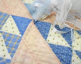 "Antique Calico Fabric Quilt 12"" X 12"" Panel Salvaged Squares Hand Stitched Petite Prints PLUS Yards Crafty Lace Destash"