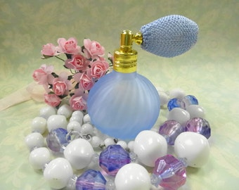 Miniature Periwinkle Blue Satin Glass Perfume Scent Bottle Vanity Display Lot Collection Vintage Beaded Necklace Floral Sprig