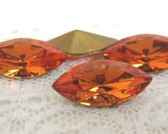 15x7 Swarovski Golden Yellow Topaz Navette Glass Rhinestone Jewels Qty 4