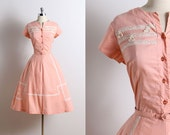 Vintage 50s Dress | vintage Toni Todd dress | 19 50s summer dress l/xl | 5719