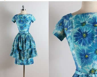30% SALE Vintage 50s dress | 1950s vintage dress | blue floral cotton 3-pc set xs/s | 5761
