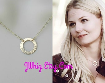 Once Upon A Time, Emma Swan Circle Necklace, 14k Gold Fill Hammered Circle Necklace, Celebrity Inspired, Hammered Gold, Christmas Gift