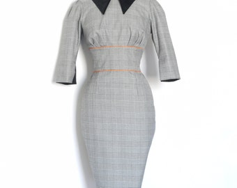 Black and White Checked Pencil Dress with Black Velvet Collar - Made by Dig For Victory