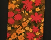 "Vintage 70s Retro Fabric - Large Orange and yellow Flowers - 47"" x 33"""
