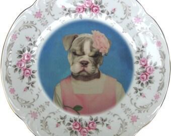 "Becky Bulldog, School Portrait - Altered Vintage Plate 10.75"""