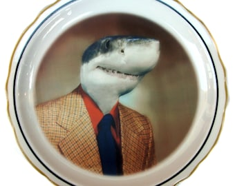 Shane the Shark - Altered Vintage plate 5.5""