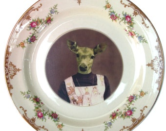 Fawn, 6th grade picture - Altered Vintage Plate 7.15""