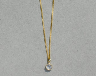 April Birthstone- Crystal Gold Plated Drop Necklace