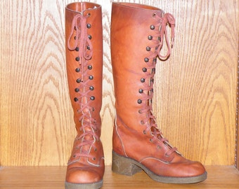 Vintage 1960s Sienna Brown Tall Leather Lace Up Boots, Hippie Boho Festival Boots, Kinney Shoes Size 5 1/2 - 6