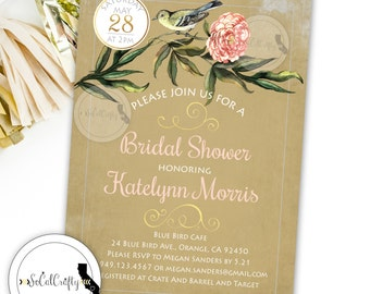 Shabby Chic Bridal Shower Invitation, Bird Invite, Blush Pink Green Tan, Wood Branch, DIY, Printed or Printable Invitations, Free Shipping