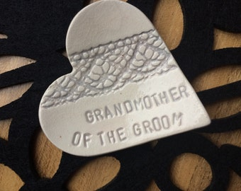 Sale - mother grandmother of the groom heart ceramic ring plates wedding gift pottery