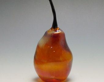 Pear Blown Glass Lampwork Amber Purple