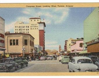 Congress Street Looking West Cars Tucson Arizona 1950s postcard