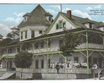Epworth Hotel Ludington Michigan 1910c postcard