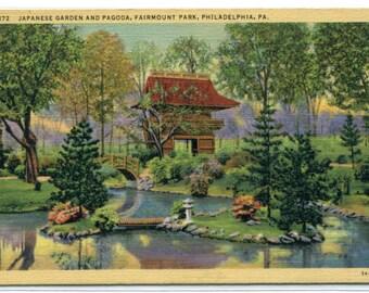 Japanese Garden Pagoda Fairmount Park Philadelphia Pennsylvania linen postcard