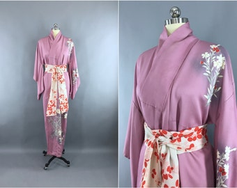 Vintage 1950s Kimono Robe / 50s Wedding Dressing Gown Lingerie / Art Deco / Lavender, Grey and Red Floral Print
