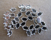33 Sterling Silver Snap Settings, 6mm x 4mm, 6 prongs