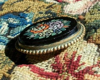 Vtg Onyx & Mosaic Brooch / Pin