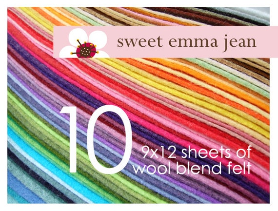 Wool Felt Sheets - Choose Any Ten (10) - Wool Blend Felt